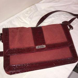 Alia Maroon Animal Embossed Patent Crossbody Bag